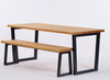 Brinkley Industrial dining table and bench light brown