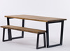 Brinkley Industrial dining table and bench rustic brown