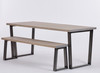 Hoxton Industrial dining table and bench grey