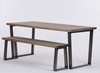 Hoxton Industrial dining table and bench distressed grey