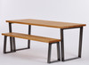 Hoxton Industrial dining table and bench light brown