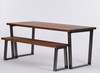 Hoxton Industrial dining table and bench dark brown