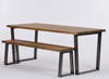 Hoxton Industrial dining table and bench rustic brown