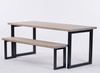 Oxton Industrial dining table and bench grey