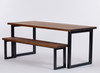 Oxton Industrial dining table and bench dark brown