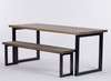 Oxton Industrial dining table and bench distressed grey