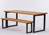 Oxton Industrial dining table and bench light brown