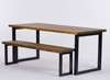 Oxton Industrial dining table and bench rustic brown