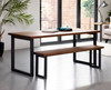 Oxton Industrial dining table and bench