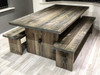 Elston farmhouse table and bench distressed grey
