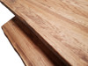 Live edge dining table and bench close up