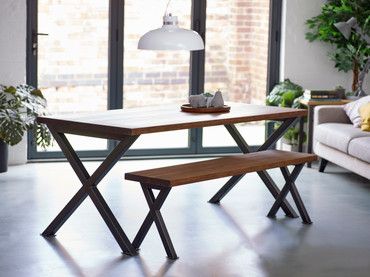 Gotham Industrial dining table and bench
