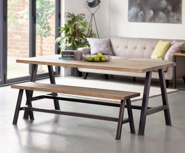 Hawton Industrial dining table and bench