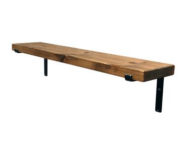 Rustic Wood Shelf with industrial steel bracket