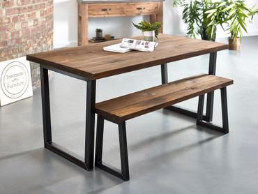 Brinkley Reclaimed plank solid wood dining table dark brown