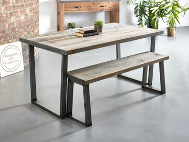 Hoxton Reclaimed plank solid wood dining table distressed grey