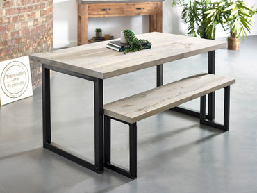 Oxton Reclaimed plank solid wood dining table  grey