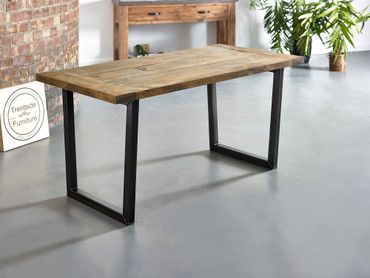 Breadboard end dining table rustic brown