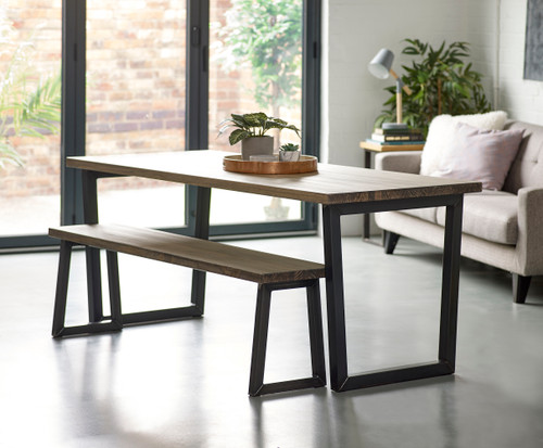 Brinkley Industrial dining table and bench