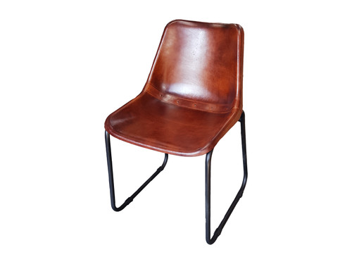 brown leather saddle chair