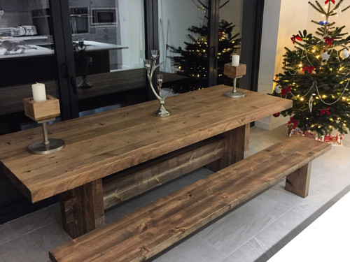 Elston farmhouse table and bench rustic brown