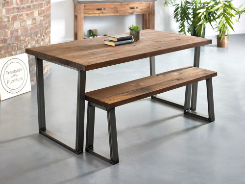 Hoxton Reclaimed plank solid wood dining table rustic brown