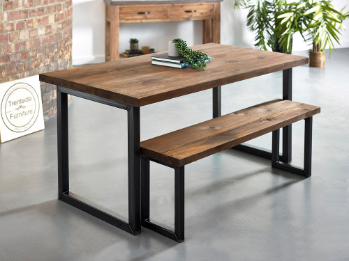 Oxton Reclaimed plank solid wood dining table rustic brown
