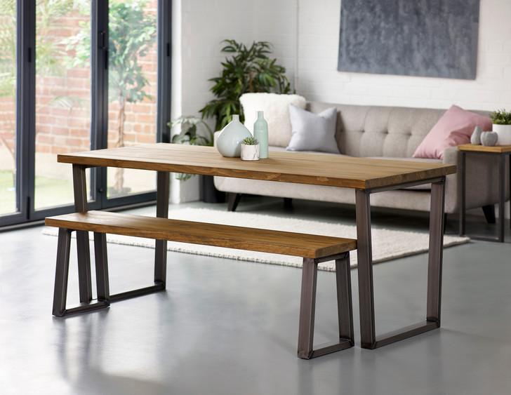 Hoxton Silver/grey U leg Industrial Dining Table