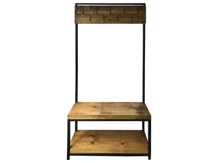Industrial coat rack with seat and shelf