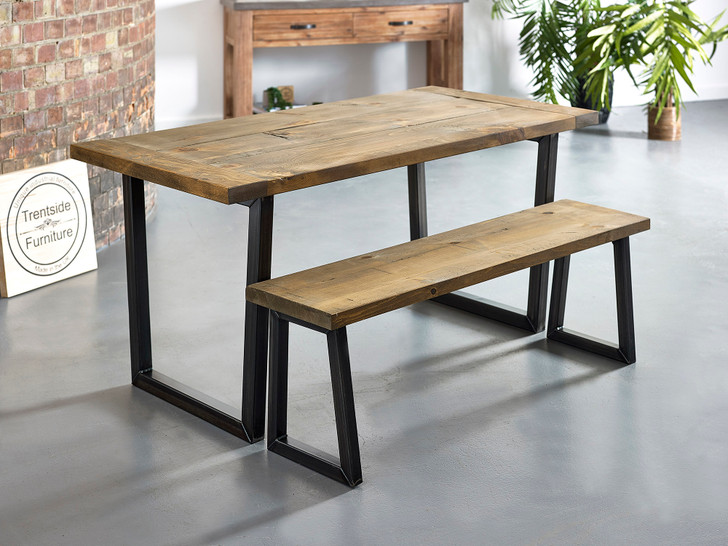 Breadboard end dining table and bench rustic brown