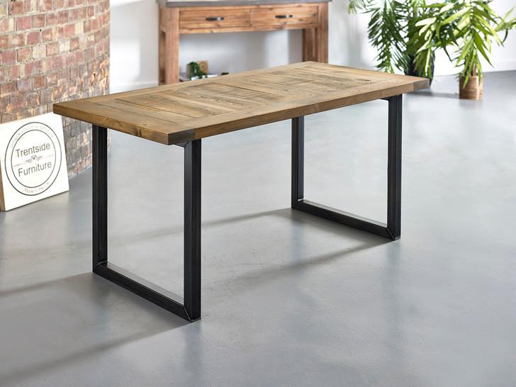 Slatted rustic dining table steel legs