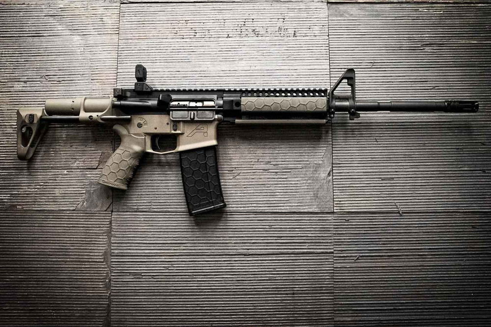 AR15 with a quad Picatinny rail outfitted with our low-profile rail covers. Get the complete SENTRY line of accessories with the Hexmag AR15 magazine and the rubber over-molded Tactical Grip.
