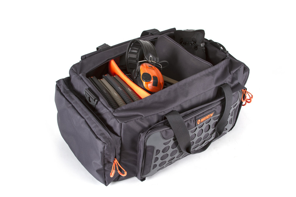 The multi gun range bag offers 2,200 C.I. of storage perfect for magazines, several sets of hearing protection, targets, binoculars, and whatever else you want to take to the range. Movable dual dividers in the main compartment allow for easy customization. Three external pockets provide additional storage capacity.