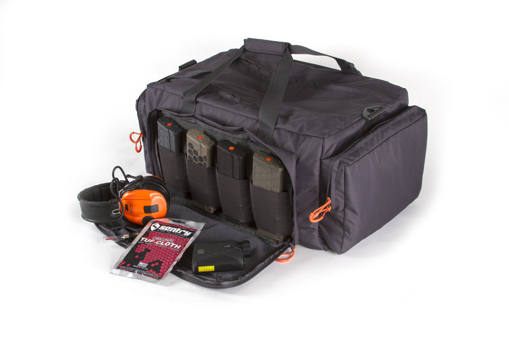 Inside the main pocket on the front of the bag includes hook and loop panel, elastic retention ports, and mesh pockets.