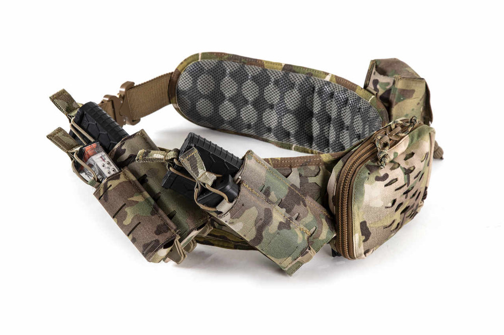 Complete Belt Pad setup with Riggers Belt on the inside and outfitted with SENTRY magazine pouches, IFAK pouch and Tourniquet pouch.