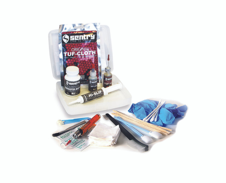The Sentry Solutions Armorers kit Treats 30 or more firearms, inside and out. Contains all the products and accessories to treat your firearms, including detailed instructions, application brush, patches, lint -free foam & cotton-tipped applicators, pipe cleaners, alcohol pads and gloves.