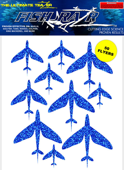 Blue Flying Fish Razr's 60 pack.  Flying fish stickers.  Hull stickers for fishing.