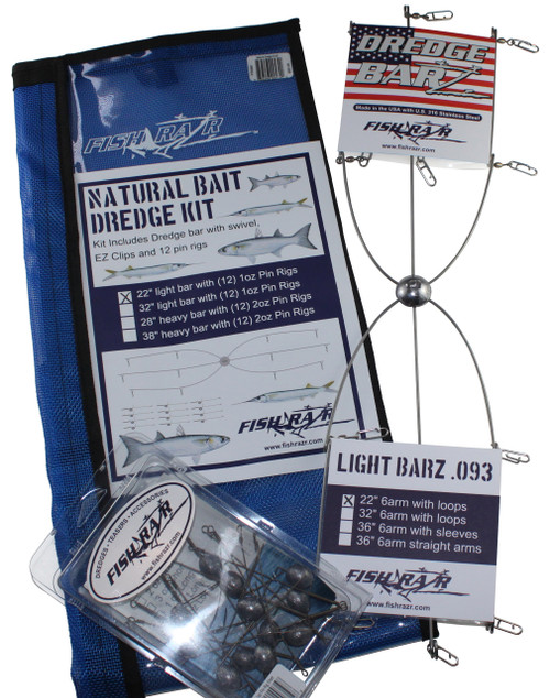 "Natural Bait Kit 22"" Bar, (12) 1oz pin rigs"