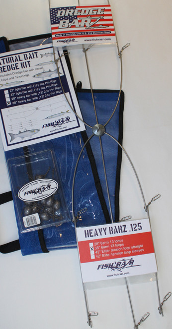 "Natural Bait Kit. 38"" Heavy Bar with EZ clips and 12 2oz pin rigs.  How to rig mullet on a dredge"