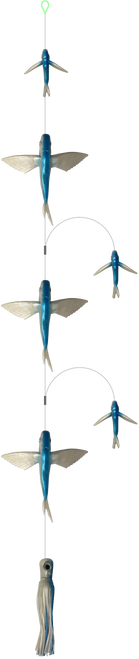 Flying fish daisy chain with chugger lure.  Offshore Fishing Tackle.