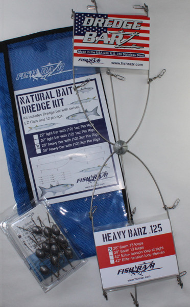 "Natural Bait Kit, 28"" heavy bar with EZ clips and 12 2oz pin rigs"
