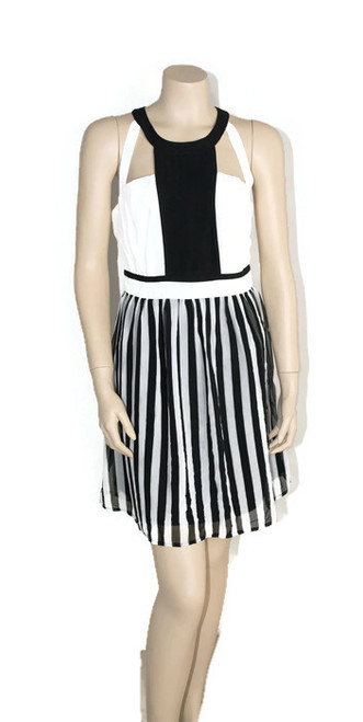 Esley Black and White Striped Cocktail Party Dress