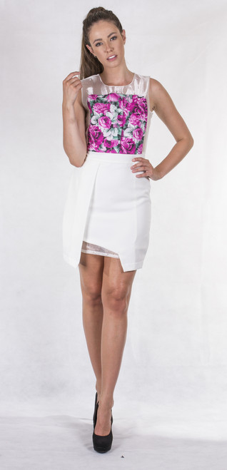 Two Sisters Pink Floral and White Mini Dress