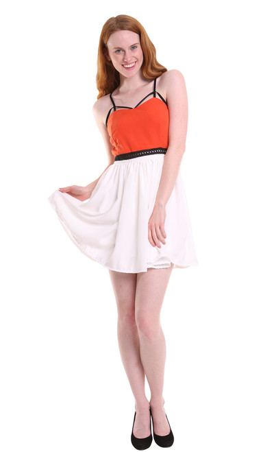 "Orange and White Cotton Mini Dress ""Cabo"" by Two Sisters"