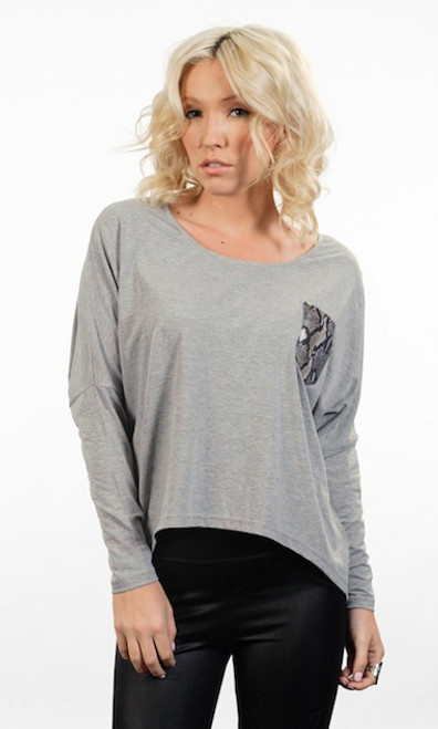 Lola vs Harper Grey Snake Pocket Asymmetrical Long Sleeve Top