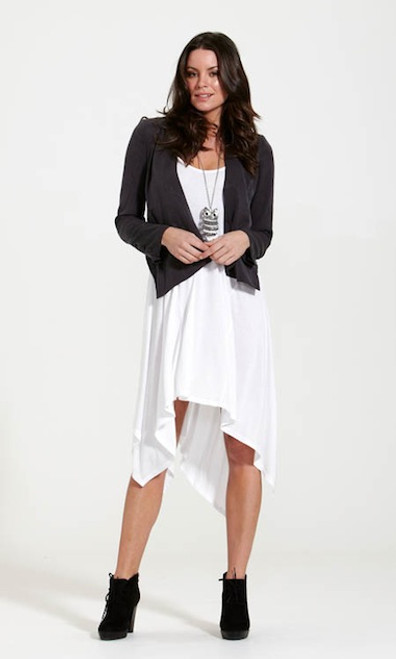 Sass Lightweight  Slate Grey Asymmetrical Jacket
