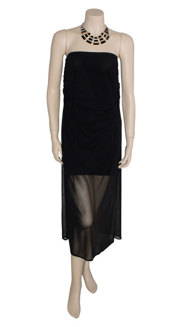 George Spyrou Sheer Black Strapless Dress Preloved Size 12