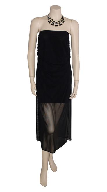 George Spyrou Sheer Black Strapless Dress Preloved Size 12