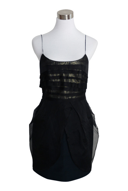 Nicola Finetti Black Metallic Silk Blend Mini Party Dress Size 10
