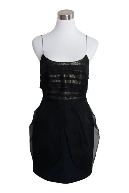 Nicola Finetti Black Metallic Silk Blend Mini Party Dress Size 10